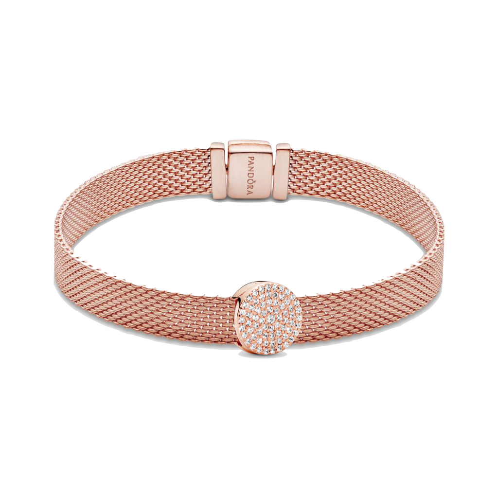Dazzling Elegance Bracelet Gift Set in Pandora Rose featuring the Flat mesh bracelet from the reflexions collection. The Dazzling Elegance clip charm with clear cubic zirconia is the centerpiece.