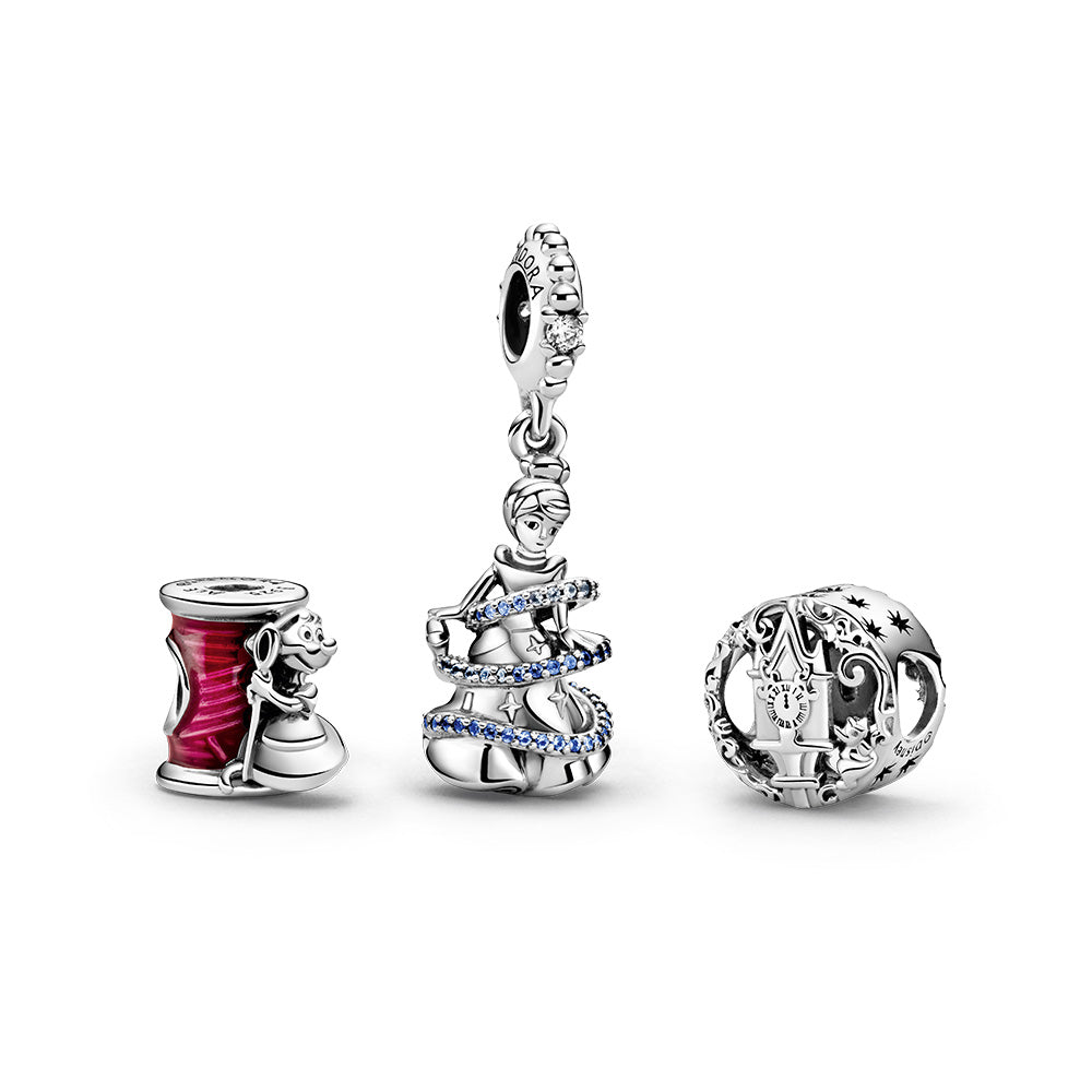 Pandora Disney Cinderella Gift Set. The set includes the Disney Cinderella Suzy Mouse Needle & Thread Charm, Disney Cinderella Magical Moment Dangle Charm and Disney Cinderella Midnight Pumpkin Charm, all hand-finished in sterling silver