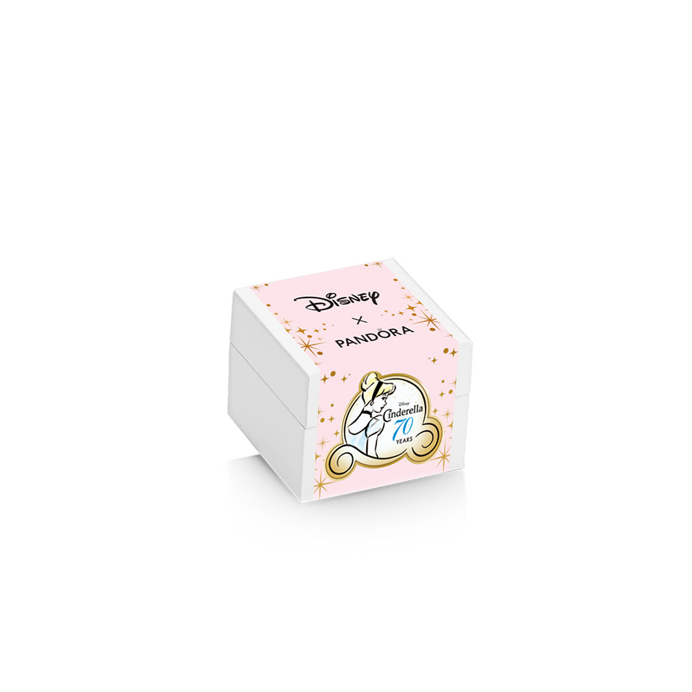Pandora Disney Cinderella Gift Set. Pandora Charm Box with Pink Disney X Pandora Cinderella 70 years special packaging wrap.