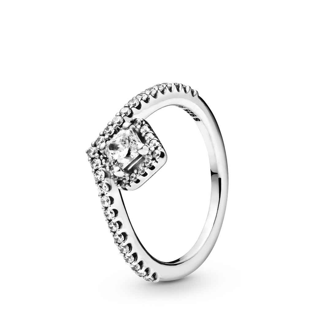 Square Sparkle Wishbone, Clear CZ Ring - Pandora Jewelry Las Vegas