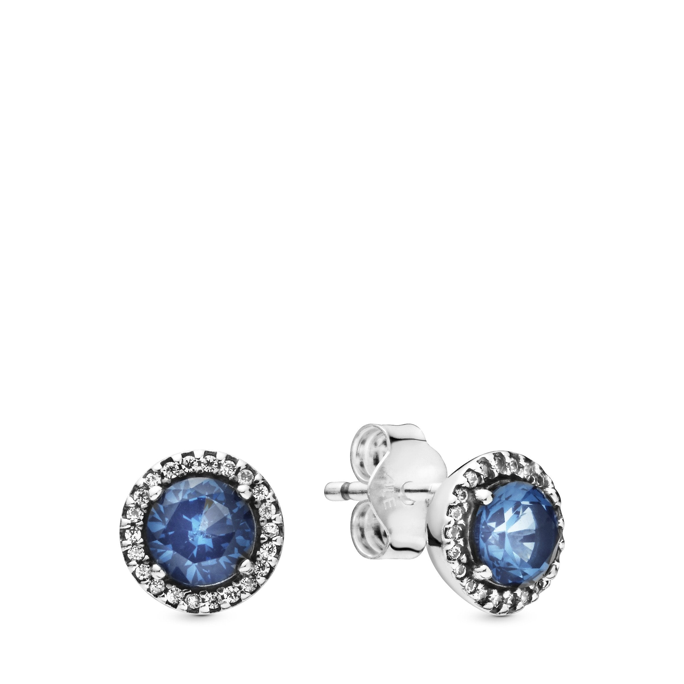 Sterling Silver Polished with Blue Glass and CZ Post Earrings