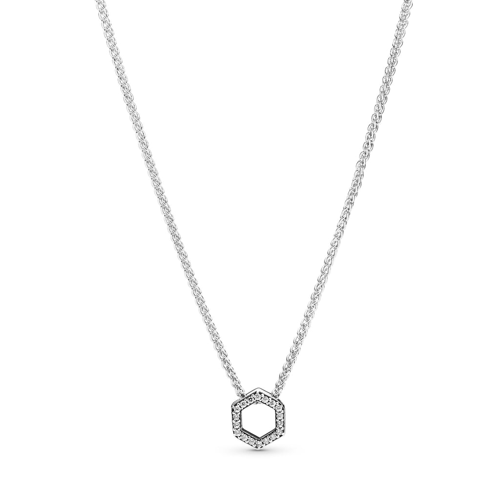 Sparkling Honeycomb Hexagon Collier Necklace - Pandora Jewelry Las Vegas