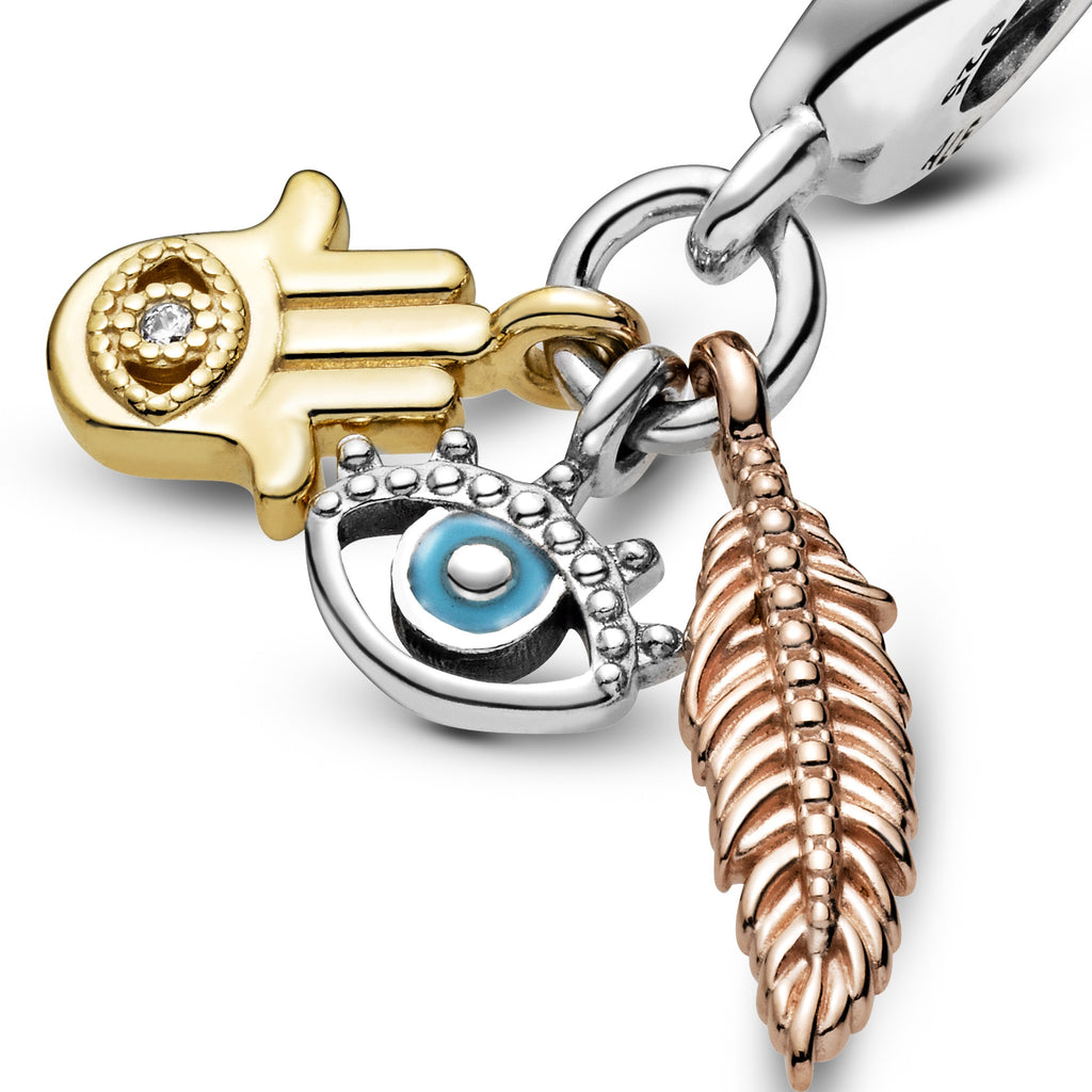 Hamsa, All-seeing Eye & Feather Spirituality Dangle Charm - Pandora Jewelry Las Vegas