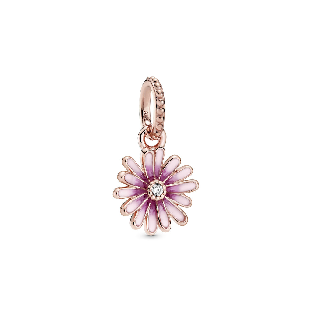 Pink Daisy Flower Dangle Charm - Pandora Jewelry Las Vegas