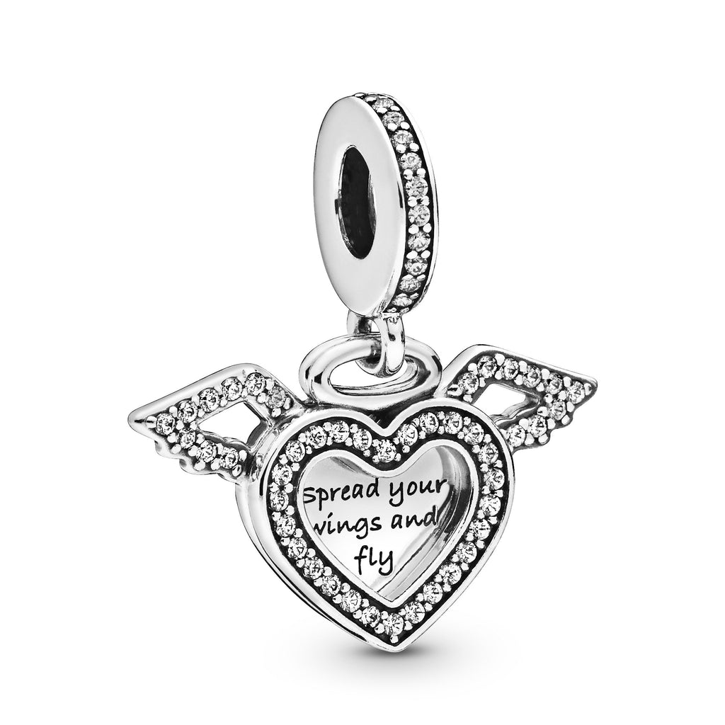 Heart & Angel Wings, Clear CZ Charm - Pandora Jewelry Las Vegas