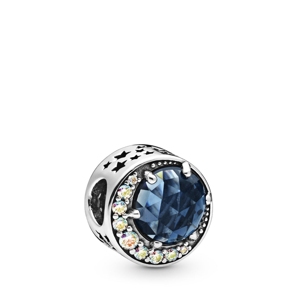 Moon & Night Sky, Blue Crystal & Clear CZ Charm - Pandora Jewelry Las Vegas