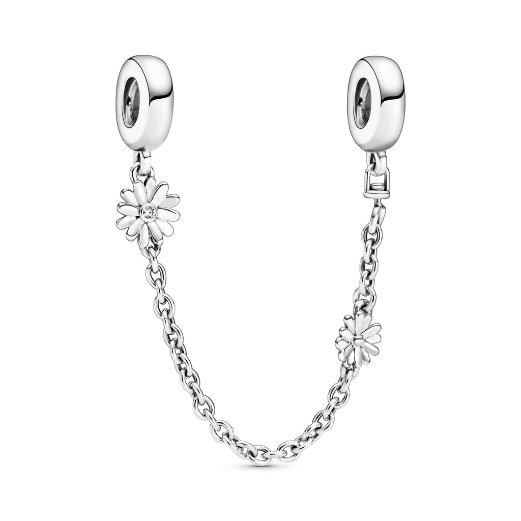 Daisy Flower Safety Chain Charm - Pandora Jewelry Las Vegas