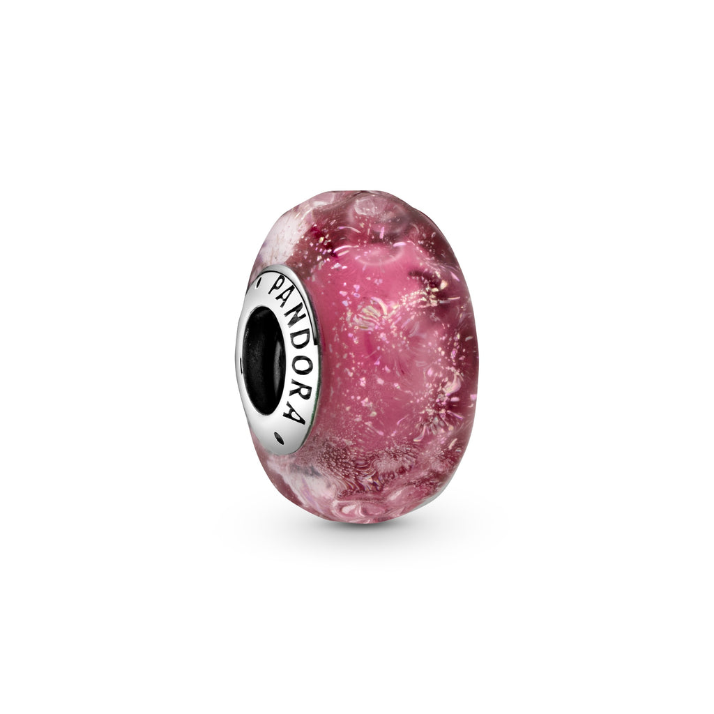 Wavy Fancy Pink Murano Glass Charm - Pandora Jewelry Las Vegas