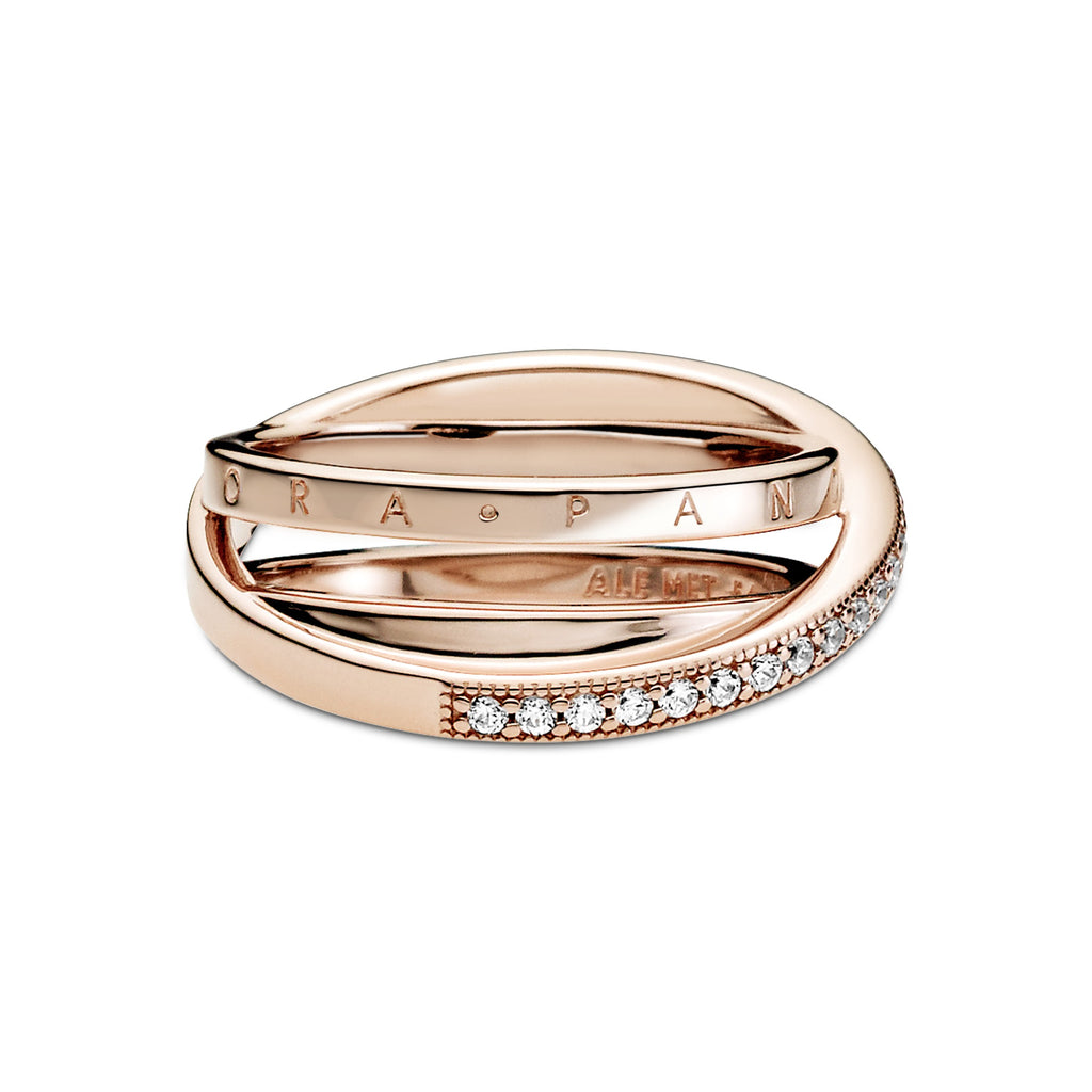 Crossover Pavé Triple Band Pandora Rose™ Ring