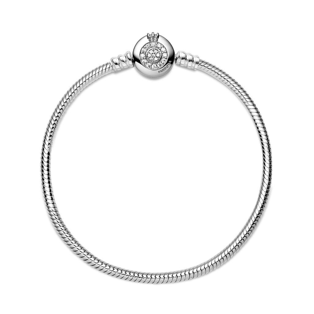 Pandora Moments Sparkling Crown O Snake Chain Bracelet, Clear CZ