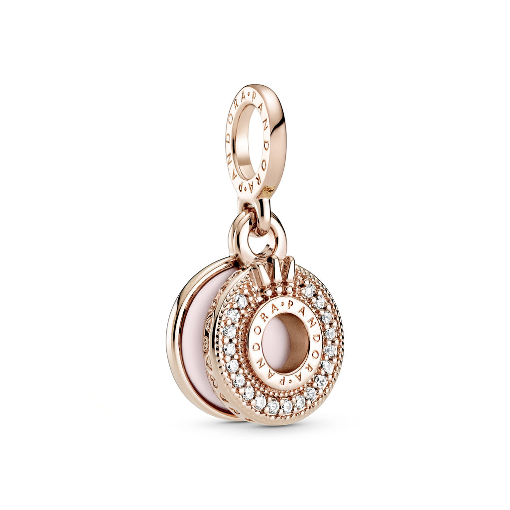 Sparkling Pavé O Crown Dangle Charm, Clear CZ & Pink Enamel, Pandora Rose™