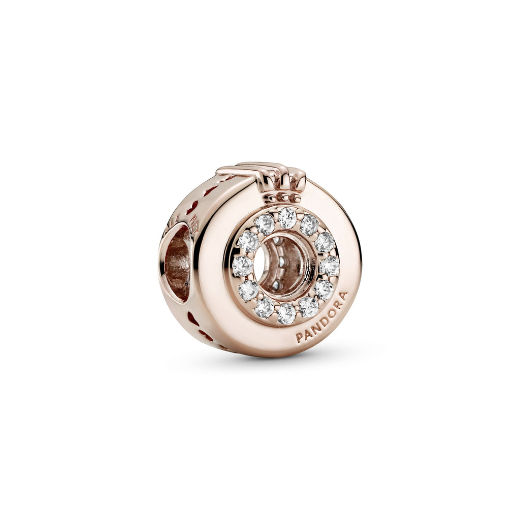 Open Centre Pavé O Crown Charm, Clear CZ, Pandora Rose™