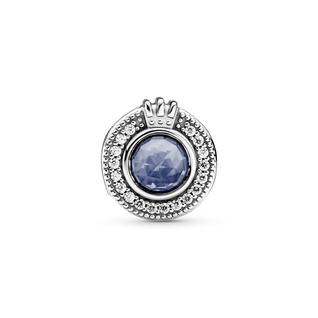 Sparkling Blue O Crown Charm, Clear CZ & Blue Crystal