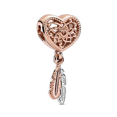 Pandora heart dream catcher charm in Pandora rose with 2 dangling feathers in Rose and sterling silver metals