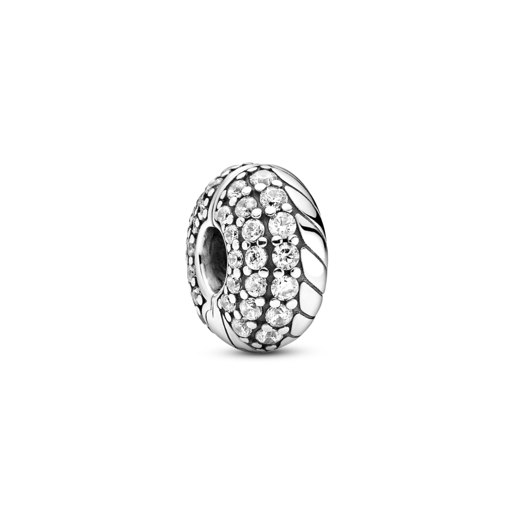 Pandora pave snake chain pattern clip charm in sterling silver with 3 different sizes of cubic zirconia stones