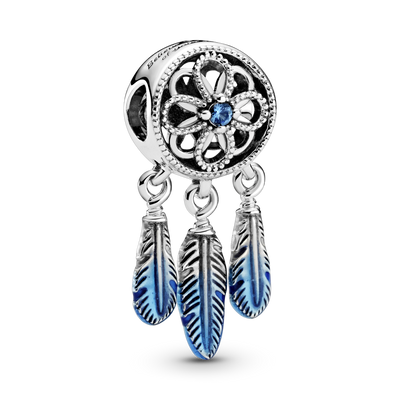 Pandora for Unicef Blue Dreamcatcher Charm in sterling silver with blue enamel feathers. style #799341C01