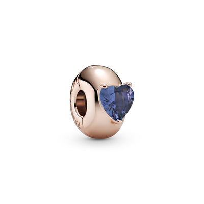 Pandora Rose Blue Heart Solitaire Clip Charm with silicone grip inside.