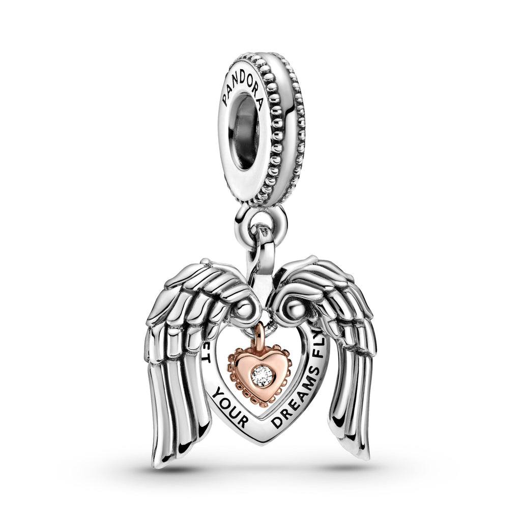 "Pandora Club 2021 Angel Wings & Heart Dangle Charm in sterling silver and Pandora Rose. The silver moveable angel wings form an open-heart shape, that frame a heart-shaped disc engraved ""Let your dreams fly"" with a Rose Heart dangling in the center with a diamond."