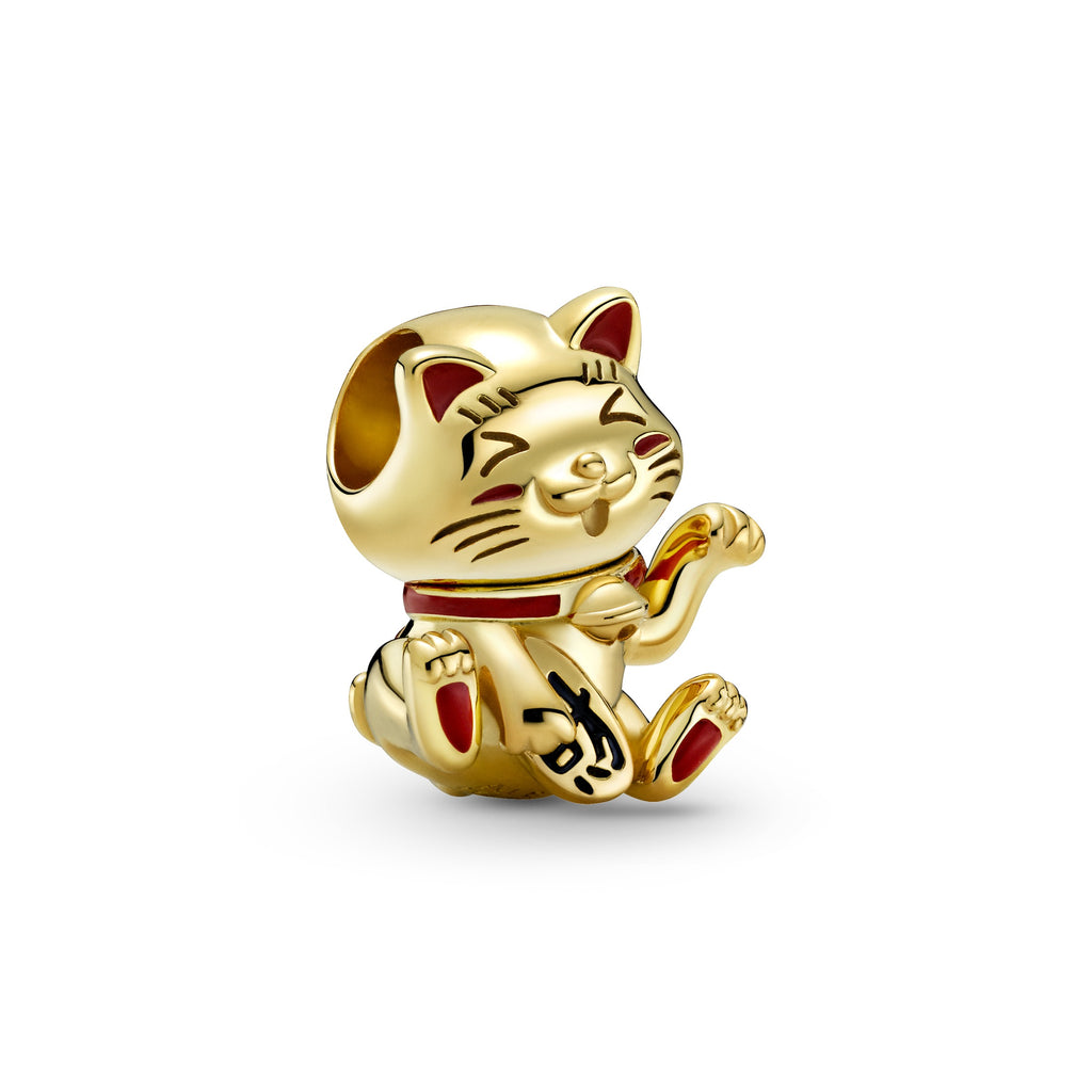 "Lucky Cute Fortune Cat charm in Pandora Shine™ -18K gold-plated metal blend. Red enamel highlights the cat's ears, face, paws, collar, and bow. The Chinese character for ""Fortune"" is written on a paw in black enamel."