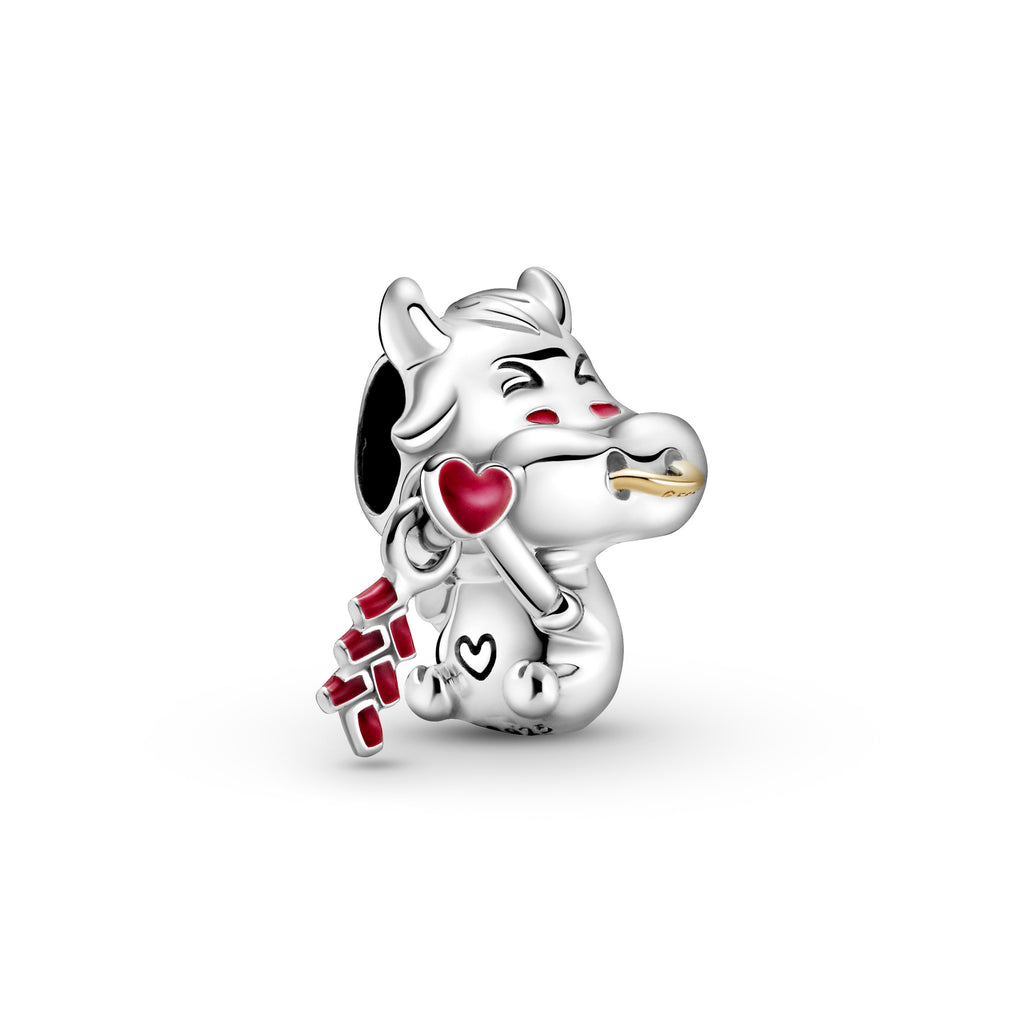 Pandora Cute Ox Charm in sterling silver. This hardworking, lucky ox charm has a 14k gold nose ring and a dangling firecracker detail in hand-applied red enamel.