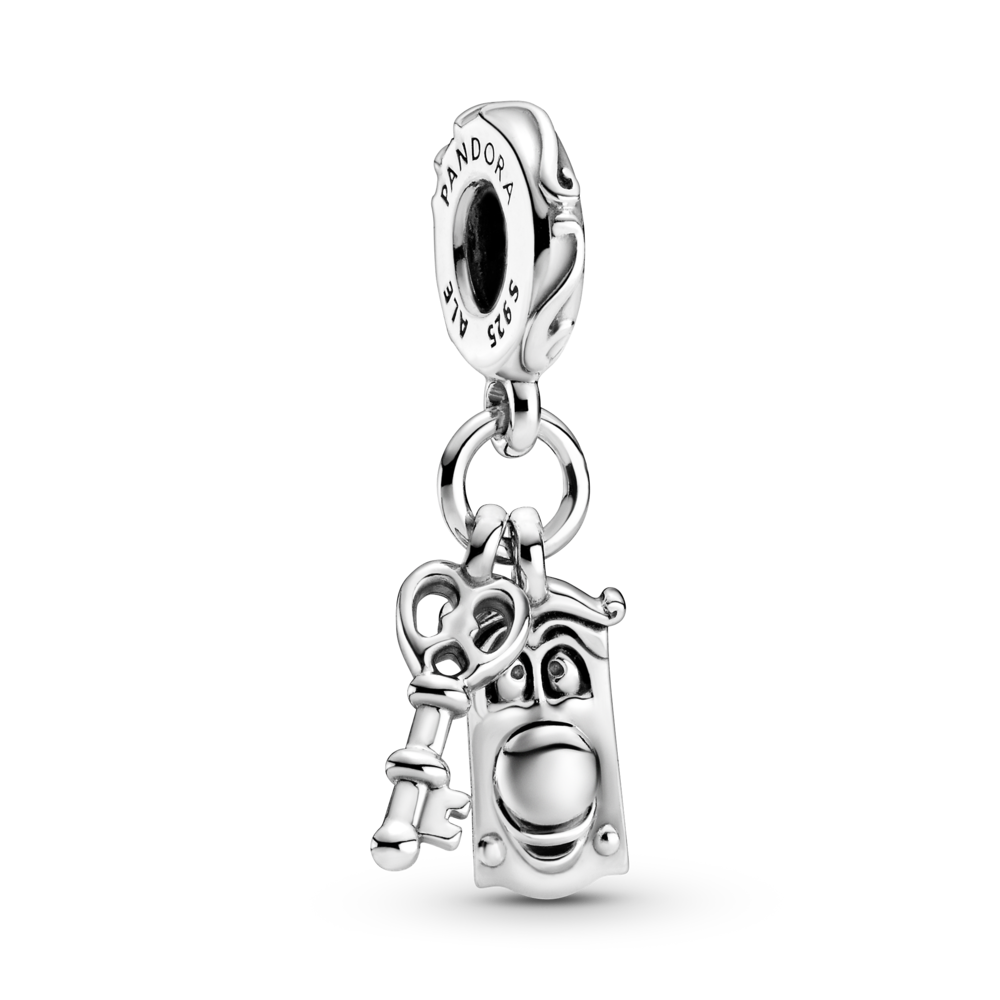 Pandora Disney Alice in Wonderland Key & Door Knob Dangle Charm in sterling silver. Style #799344C00