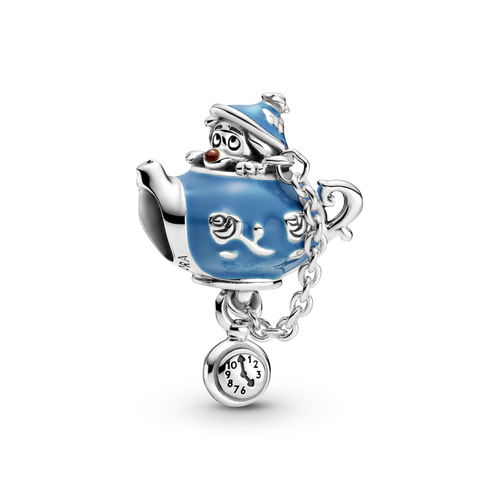 Pandora Disney Alice in Wonderland Unbirthday Party Teapot Charm in sterling silver with blue and red enamel. 799345C01