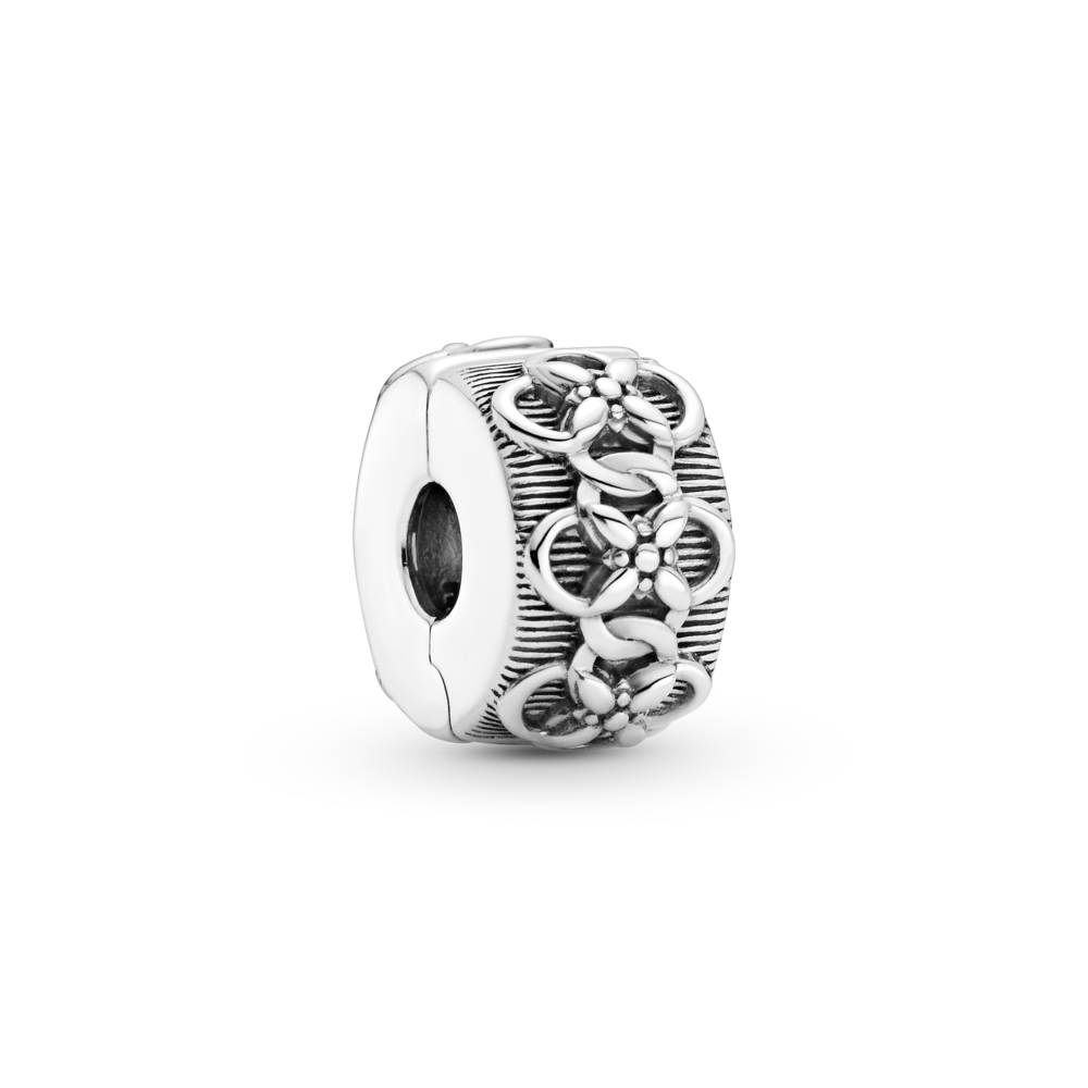 Pandora Flower Pattern Clip Charm in sterling silver.  Style #799316C00
