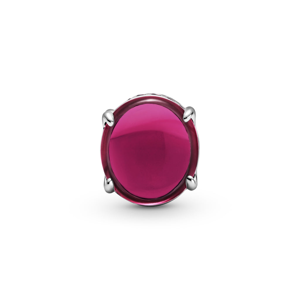 Pandora Fuchsia Rose Oval Cabochon Charm in sterling silver. Two oval cabochon-cut stones create a see-through button-shaped charm. The bottom and top are lined with small sparkling fuchsia stones.