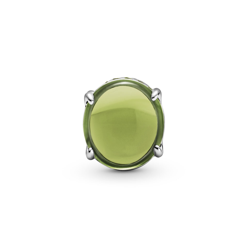 Pandora Green Oval Cabochon Charm in sterling silver. Two oval cabochon-cut stones create a see-through button-shaped charm. The bottom and top are lined with small sparkling green stones.