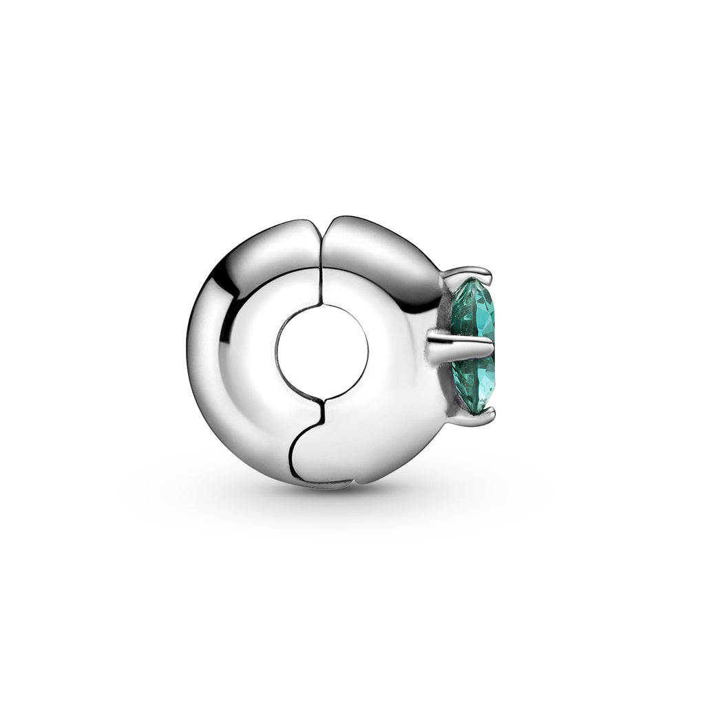 Pandora Green Round Solitaire Clip Charm in sterling silver with an interior silicone grip.