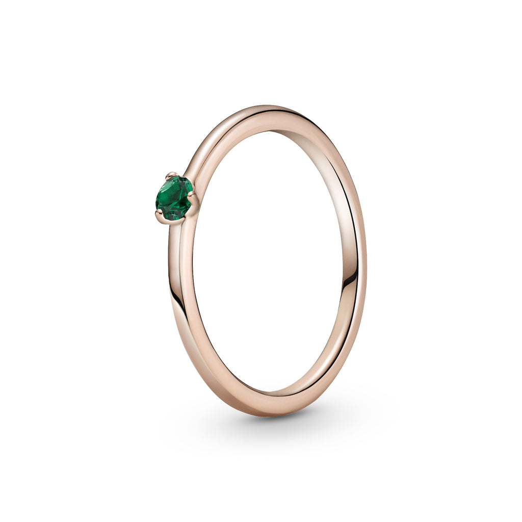 Green Solitaire Ring in Pandora Rose