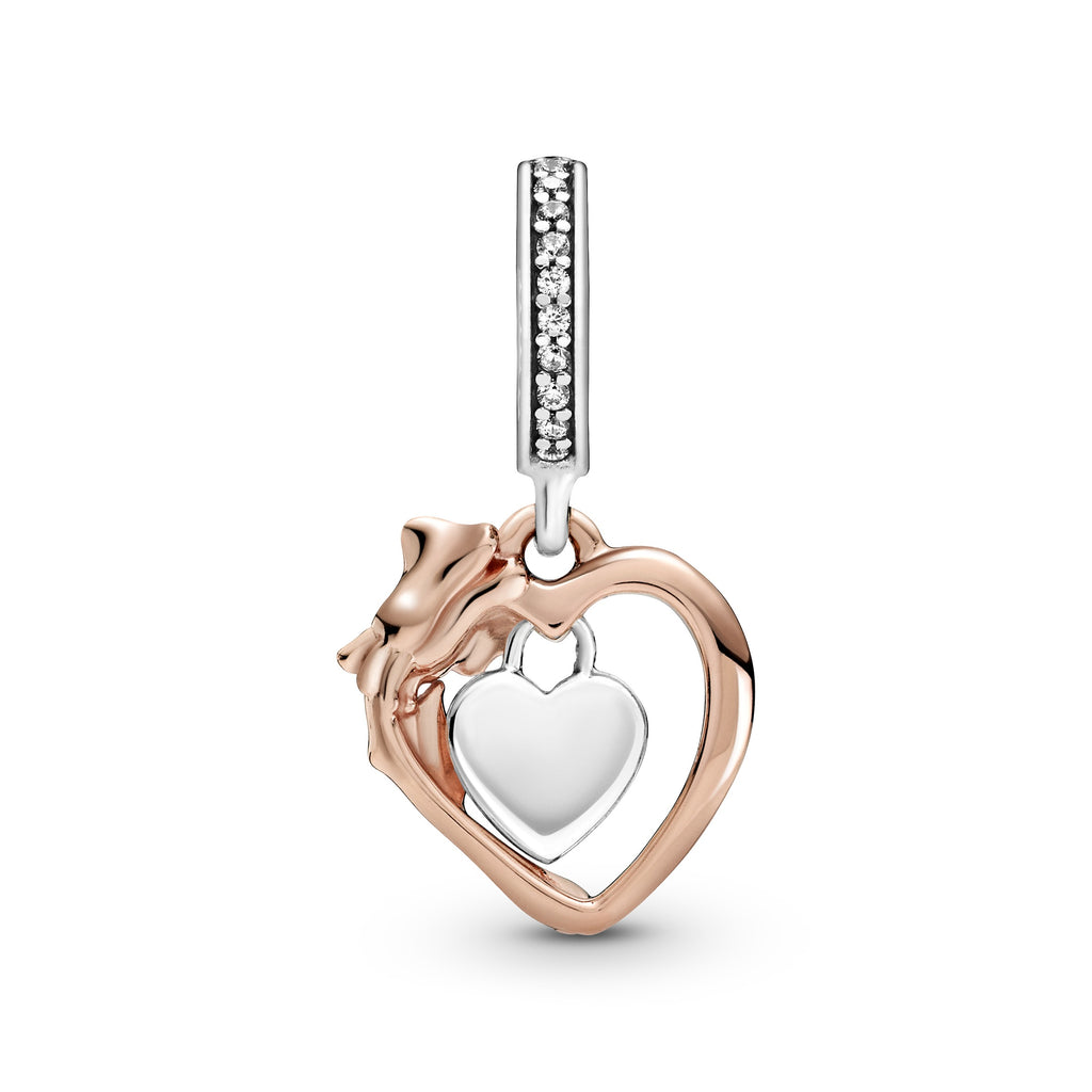 "Back side of Pandora Heart & Rose Flower Dangle Charm in sterling silver and Pandora Rose. The charm has a heart-shaped frame with a padlock heart dangling within it engraved ""Love Forever"". The frame has intricate rose petal and leaf details."