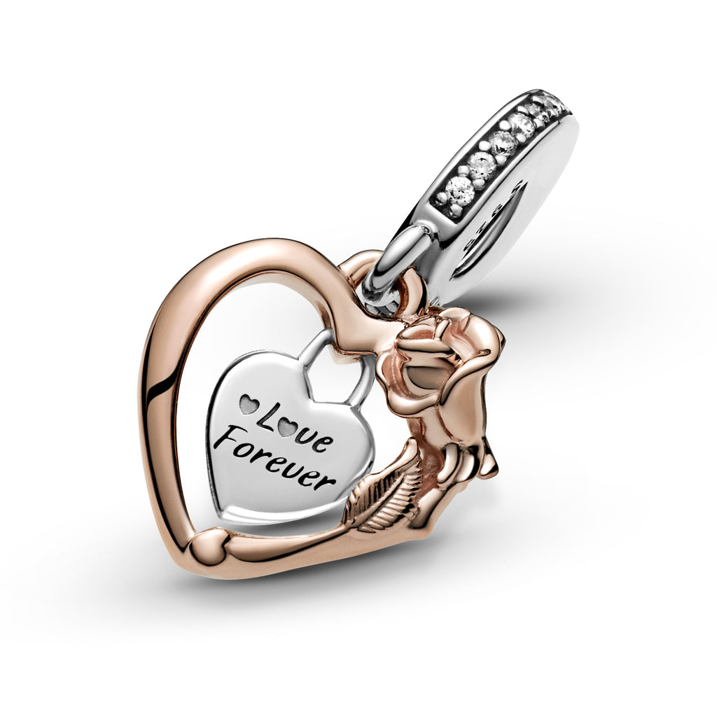 "Pandora Heart & Rose Flower Dangle Charm in sterling silver and Pandora Rose. The charm has a heart-shaped frame with a padlock heart dangling within it engraved ""Love Forever"". The frame has intricate rose petal and leaf details."