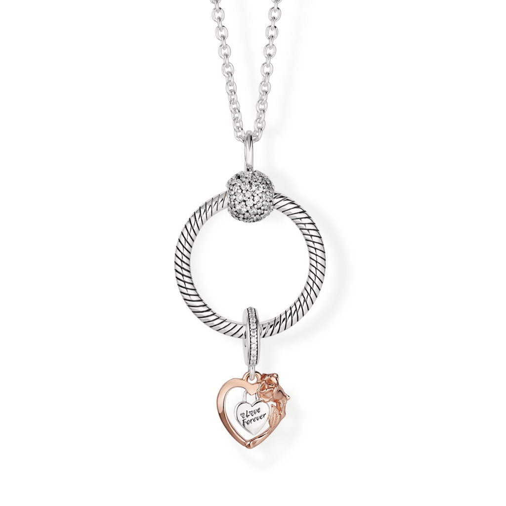 Heart & Rose Flower Pandora O Pendant Gift Set