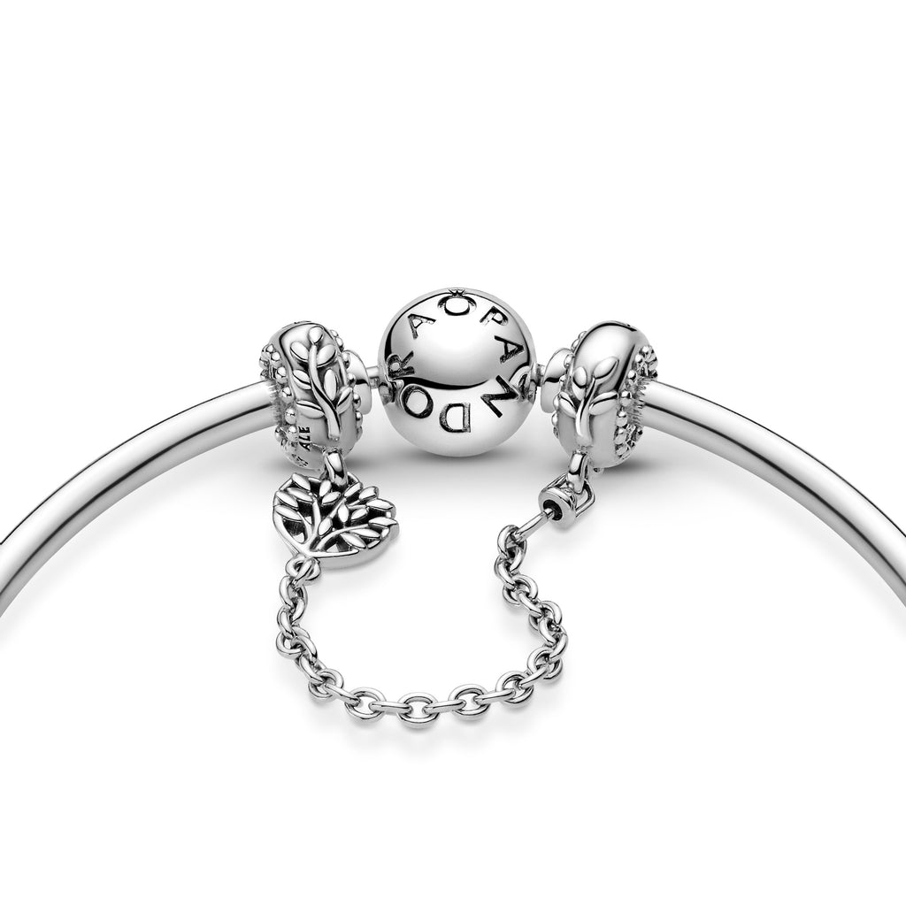 Pandora Heart Family Tree Safety Chain in sterling silver shown on Moments bangle bracelet.