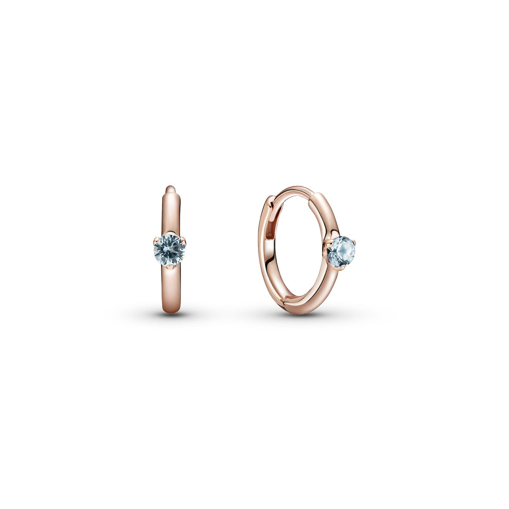 Pandora Light Blue Solitaire Huggie Hoop Earrings