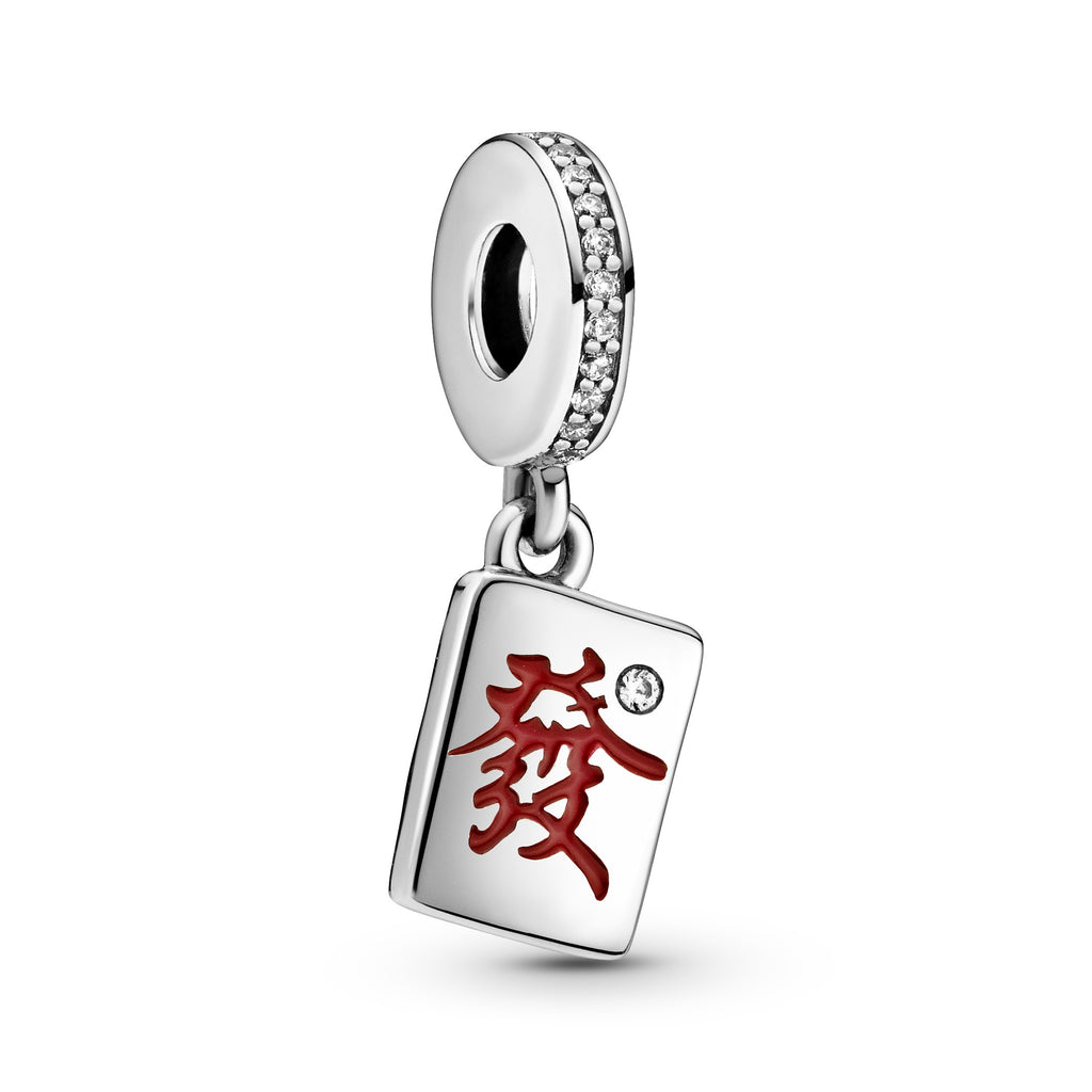Pandora Mahjong Dangle Charm in sterling silver with red enamel  and clear cz.