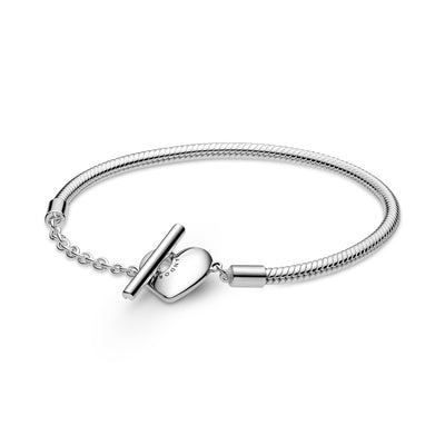 Pandora Moments Heart T-Bar Snake Chain Bracelet in sterling silver.