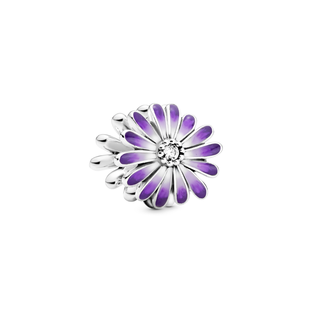Pandora Jewelry Purple Daisy Charm in sterling silver. the flower petals have a purple, lavendar, and white Ombre effect with clear cubic zirconia center.  Style  #798775C02