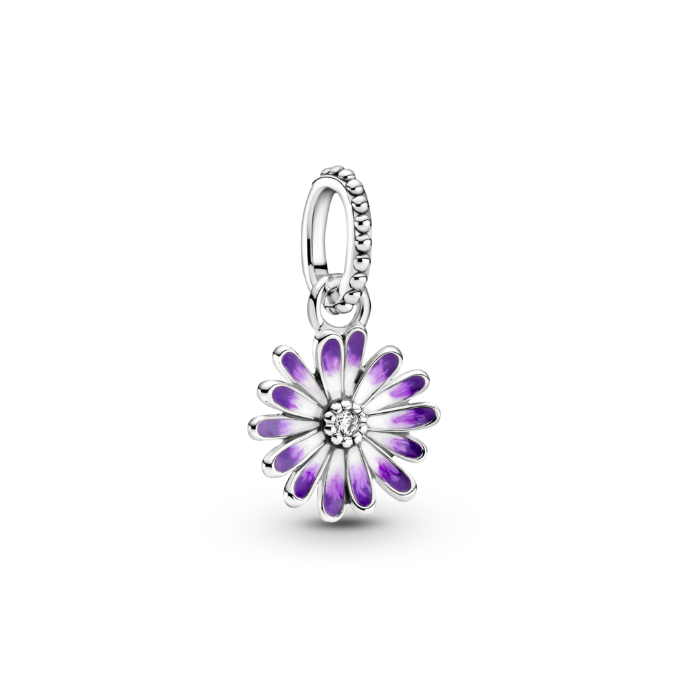 Pandora Purple Daisy Dangle Charm in sterling silver. Flower petals have an Ombre purple enamel and clear cubic zirconia in the center. Style #798771C01
