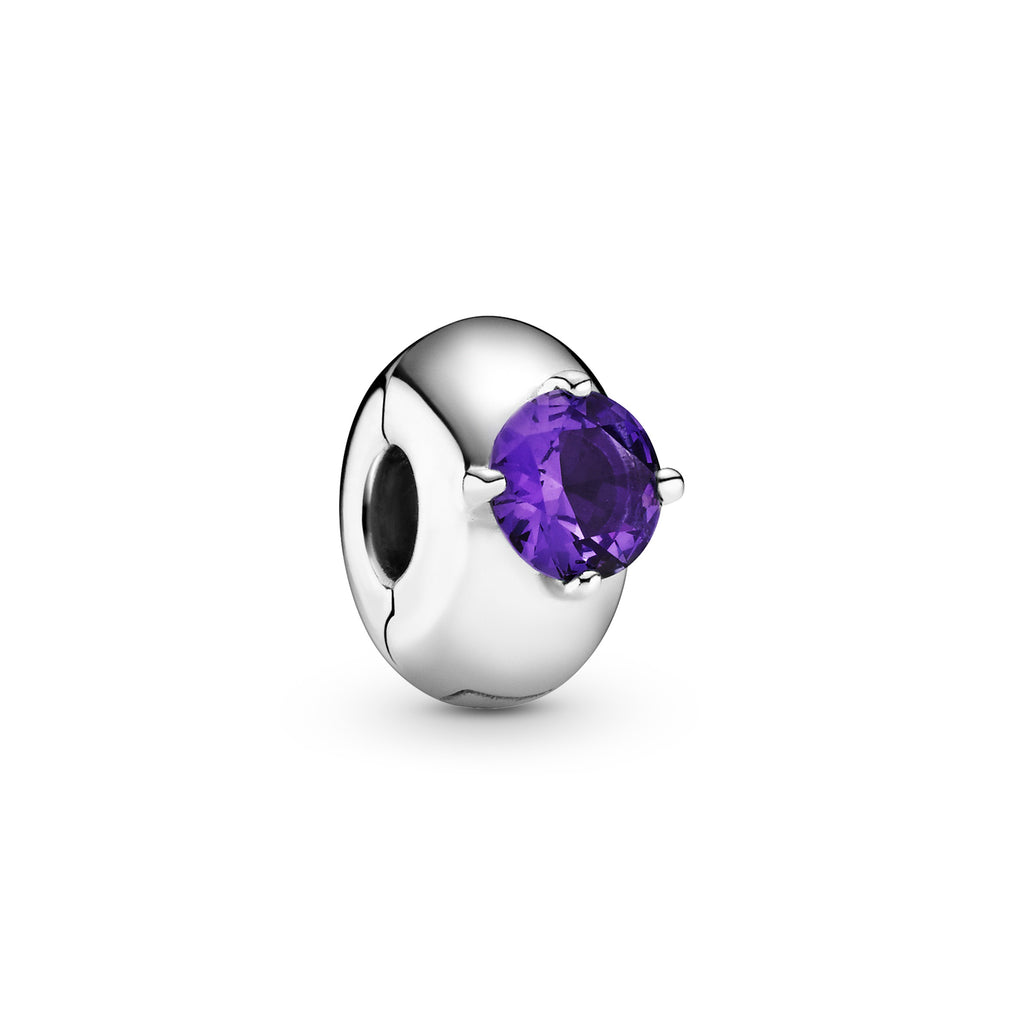 Pandora Purple Round Solitaire Clip Charm in sterling silver. Including a raised round purple stone, this smooth clip charm has a silicone grip.