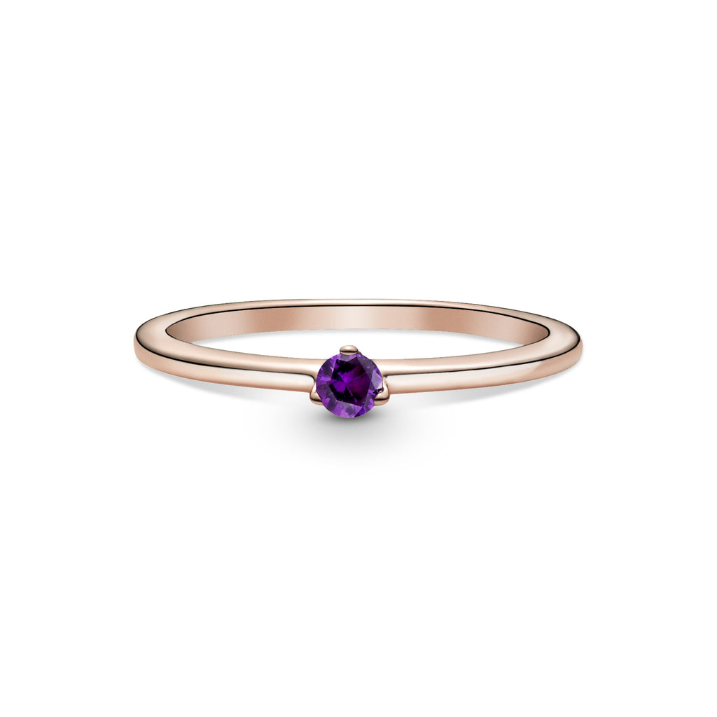 Pandora Purple Solitaire Ring in Pandora Rose™ (14k rose gold-plated unique metal blend), this simple design features a single purple cubic zirconia.