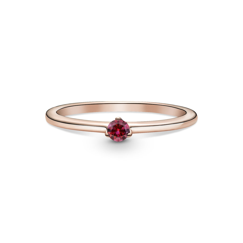 Pandora Red Solitaire Ring in Pandora Rose™.(14k rose gold-plated unique metal blend), this simple design features a single red cubic zirconia.