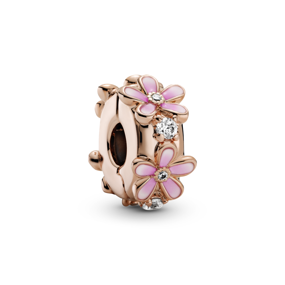 Pandora Rose™ Pink Daisy Spacer Clip Charm with clear cubic zirconia stones and pink Ombre enamel flower petals. Style  #788809C0
