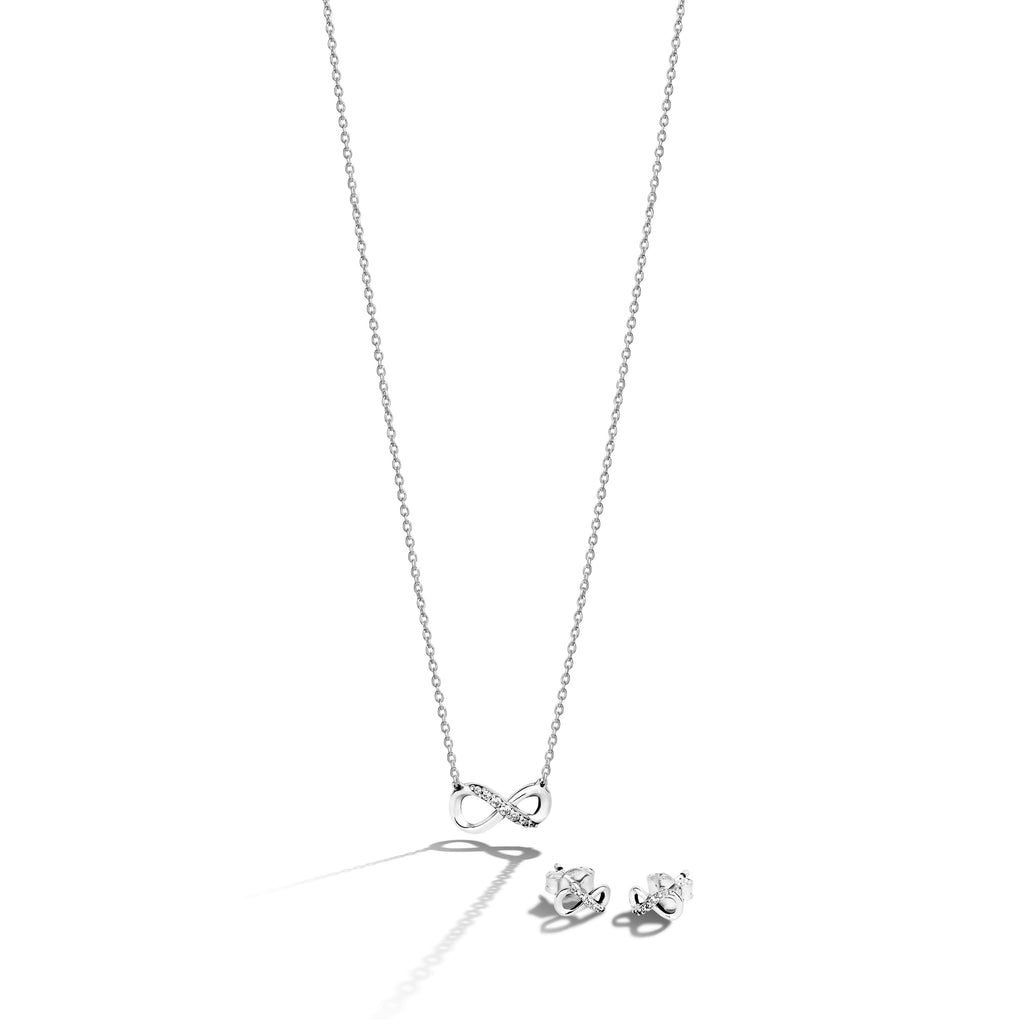 Pandora Sparkling Silver Infinity Jewelry Gift Set in sterling silver features the Sparkling Infinity Collier Necklace in sterling silver and cubic zirconia with the matching Earrings.