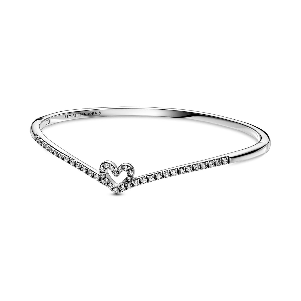 Pandora Sparkling Wishbone Heart Bangle in sterling silver. The sparkling heart has the Iconic V-shape from the wish collection holding the heart. This openable style features a button for easy on and off.