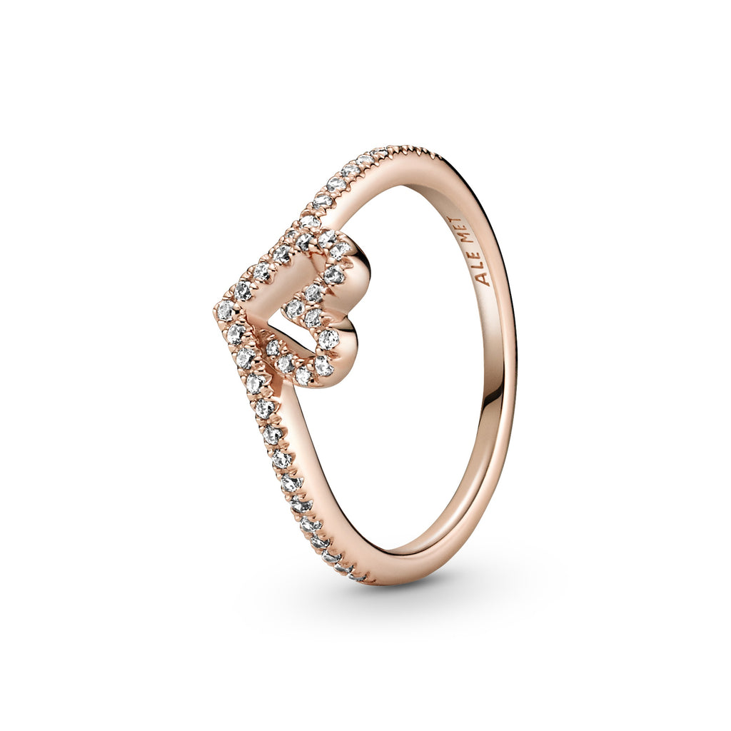Pandora Sparkling Wishbone Heart Ring in Pandora Rose™. Clear cubic zirconia decorates the heart and top of the V-shaped ring shank.