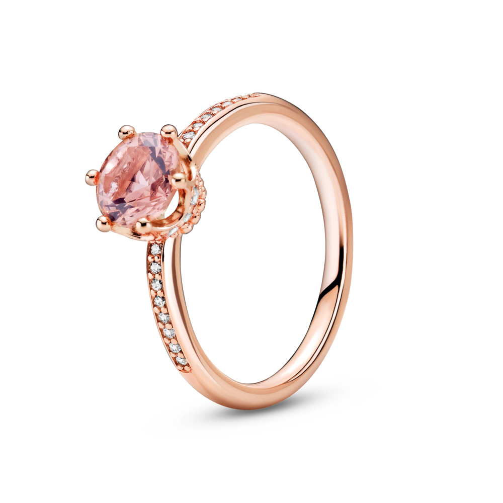 Pandora Rose Pink Sparkling Claw Set Crown Solitaire Ring with clear cz channel set on side of polished band