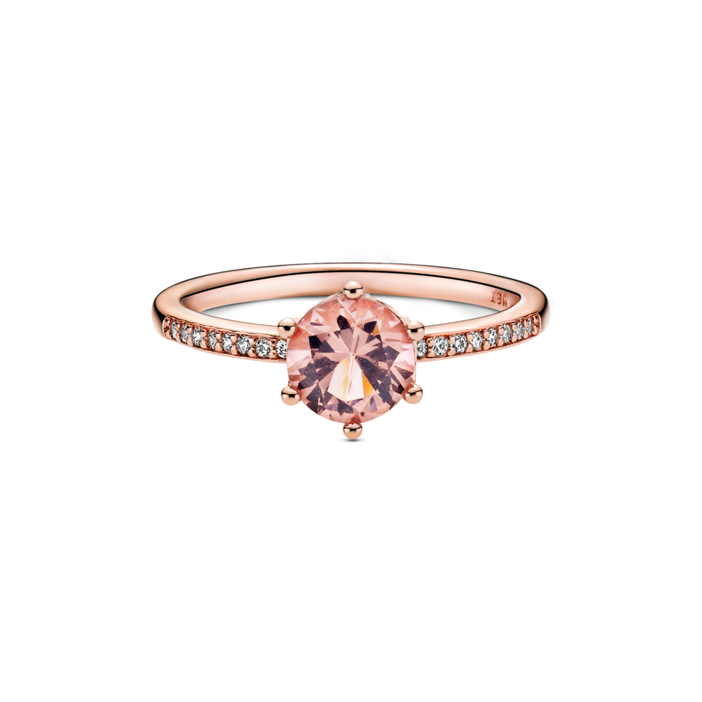 Front View of Pandora Rose Pink Sparkling Claw Set Crown Solitaire Ring with clear cz channel set on side of polished band