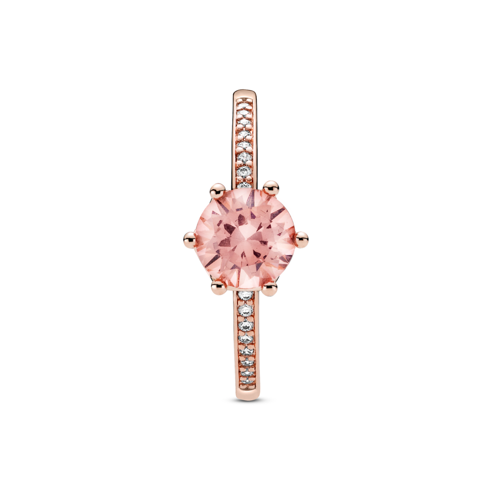 Pandora Rose Pink Sparkling Claw Set Crown Solitaire Ring with clear cz channel set flanking the centerpiece